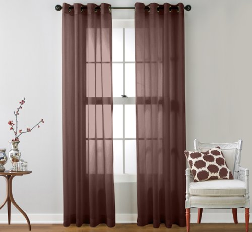 HLC.ME 2 Piece Sheer Window Curtain Grommet Panels (Chocolate Brown) - 95