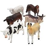 Farm Animal Figure Toy Set,6 Piece Jumbo Farm Animals Toys Set,Realistic Wild Vinyl Pastic Animal Learning Party Favors Toys Boys Girls Kids Big Farm Animals Toys Playset