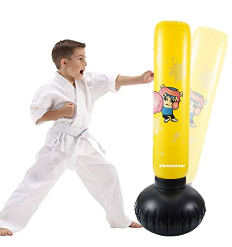 ClawsCover 4 Foot Punching Bag for Kids Inflatable Heavy Duty Sports Fitness PVC Boxing Bags with Stand Fun Activity Children Gifts Toys for MMA Karate Physical Exercising Training Bop Bags -