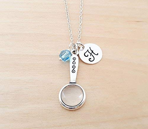Magnifying Glass Charm Personalized Sterling Silver Necklace - Science Geek Jewelry