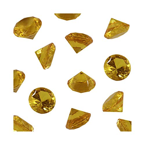 Gold Acrylic Diamond Vase Fillers 1 Pound - 240 pcs 3/4 Inch Wedding Party Event Banquet Birthday Decoration Crystals Gem Table Scatters (Gold, 240 pcs) -