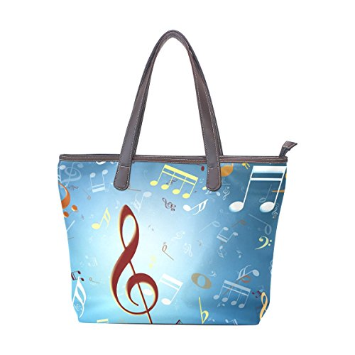 Women Large Tote PU Leather Shoulder Bags Music E3 Ladies (E3 Stroller)