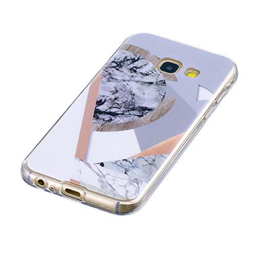 Samasung Galaxy A5 2017 Soft TPU Carcasa Funda, KaseHom mármol Cover Geometría de granito geométrica caso de las iniciales Protectiva Anti-rasguños Caso y [Protector de pantalla gratuito] -8 5