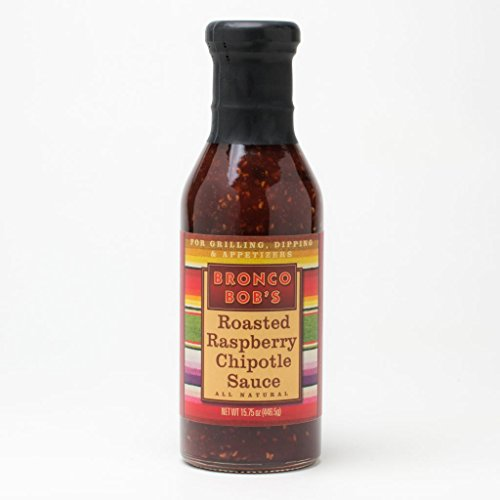 Three 15-oz Bottles of Bronco Bob's Roasted Raspberry Chipotle Sauce (Bbq Raspberry Sauce)