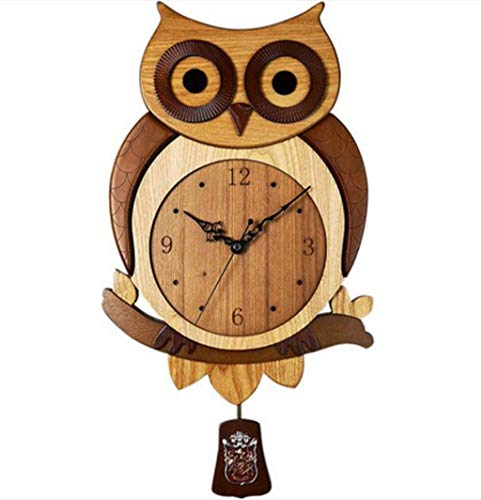(JSHFD Retro Wooden Wall Clock Silent Non-Ticking Owl Design Arabic Numerals Great for Decorate Kids Bedroom Living Room Dining Room Kitchen)