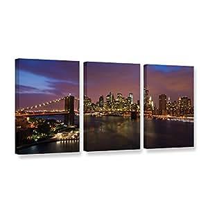 Art Wall 0yor075c2448w Cody York's 3 Piece Nyc with Brooklyn Bridge Gallery Wrapped Canvas Set, 24 by 48-Inch