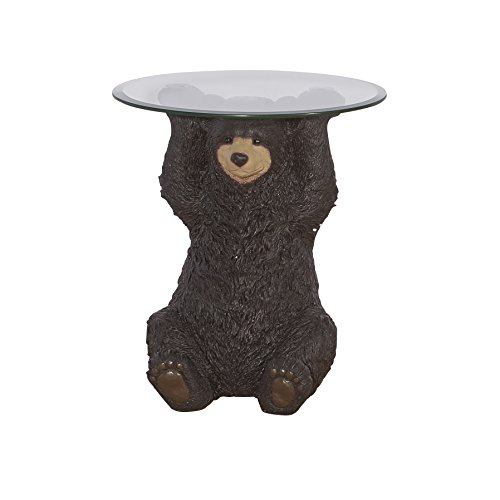 Powell Barney Bear Cabin Resin, Glass Accent Side Table