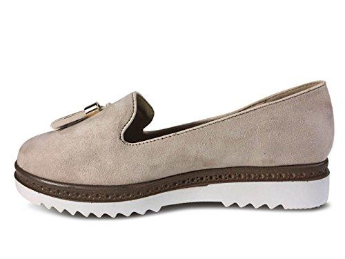 Damen Slipper Plateau Sneakers Ballerinas Glitzer Nieten ST551 (38, Beige) Schuhtraum