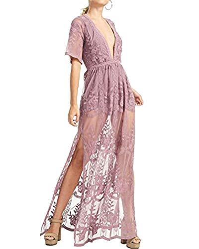 BBYES Women's Summer Short Sleeve Lace Sheer Club Long Dress Beach Party Maxi Split Dress Purple M