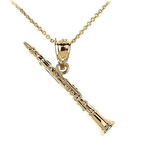 Collier Pendentif 14 ct Or Jaune 3D Clarinette Musique (Livré avec une 45cm Chaîne)