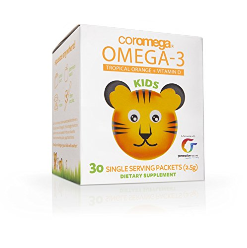Coromega Kids Omega-3 Fish Oil Squeeze Packets, EPA and DHA, Brain Health, Eye Health, and Growth Development, 30-Count by Coromega