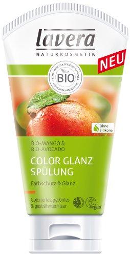lavera Hair Pro Color Glanz Spülung Bio Mango - Haarpflege für coloriertes getöntes Haar 4er Pack (4 x 150 ml)