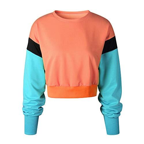 AIMEE7 Chic Tops Shirt Courte Hauts Orange Tee d'pissure Manches Femme Longues Blouse Couleur OqwI4Or