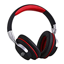Ausdom ShareMe Wireless Headphone Bluetooth Stereo Over Ear Headphones Lightweight Foldable Headset with Mic and Volume Control for Travel Work Sport for PC Laptop SmartPhones Men Kids Girls(Black&Red)
