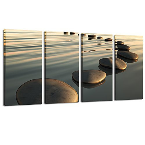Live Art Decor - Large Zen Canvas Wall Art Basalt Stone at Sunset Relax Picture Spa Living Room Office Wall Decor Peaceful Scenery Artwork Framed Ready to Hang- 64''W x 32''H overall by Live Art Decor
