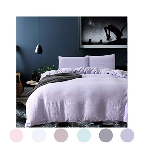 MOVE OVER Light Purple Bedding Lavender Duvet Cover Set Washed Cotton Microfiber Quilt Cover Purple Bedding Set Queen (90