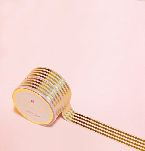 Elegant Golden Stripes in Gold Foil Washi Tape for Planning • Scrapbooking • Arts Crafts • Office • Party Supplies • Gift Wrapping • Colorful Decorative • Masking Tapes • DIY from Mery Keem