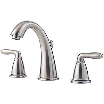 Pfister lg49sr0k serrano 2 handle 8 inch widespread - 8 inch brushed nickel bathroom faucet ...