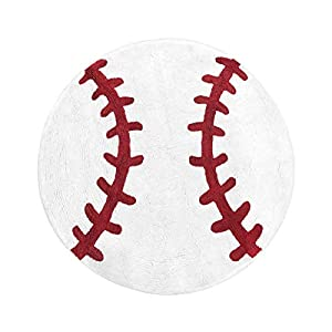 Sweet Jojo Designs Red and White Round Accent Floor Rug or Bath Mat for Baseball Patch Sports Collection