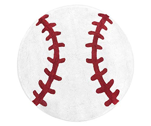 (Sweet Jojo Designs Red and White Round Accent Floor Rug or Bath Mat for Baseball Patch Sports Collection)