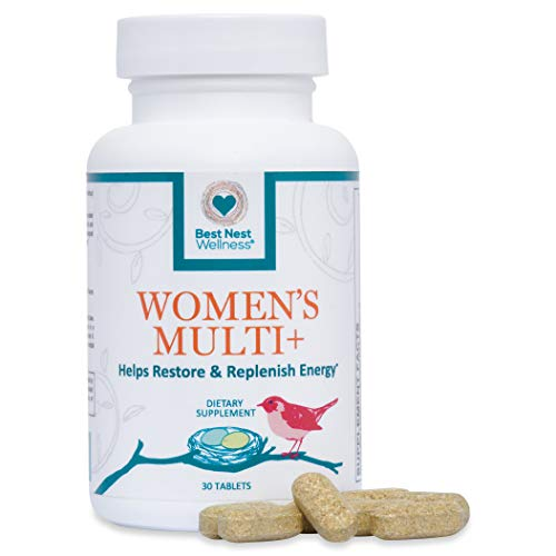 Best Nest Women's Multi+ | Methylfolate, Methylcobalamin (B12), Vegan, Multivitamins, Probiotics, Made with 100% Natural Whole Food Organic Blend, Once Daily Multivitamin Supplement, 30 Ct