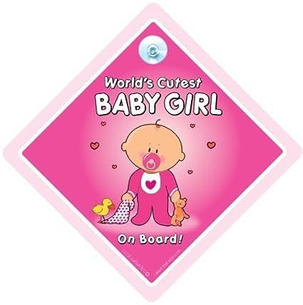 Del Mundo jarra, diseño de bebé niña a bordo coche señal ...
