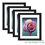 The Display Guys 16x20 Black Onyx Walnut Wood Finish Picture Frame w. Removable Mat Board & Tempered Glass, matted for 11x14 Photo Value 4-Pack