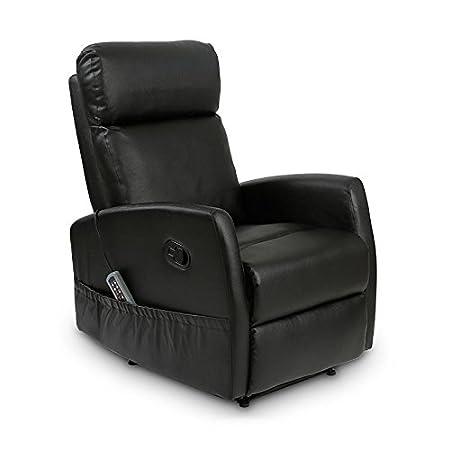 Deluxe - Sillón Relax Masaje Reclinable Manual Slim Antiestrés - Calor Lumbar - 8 Motores De Vibración - Máxima Calidad - Beige: Amazon.es: Hogar