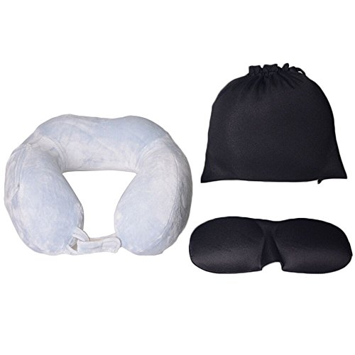 Sunptoo Travel Pillow Soft Memory Foam Neck Pillow for Airplanes, Travelling and Cars With Eye Mask, and Carry - Different Shapes Chin