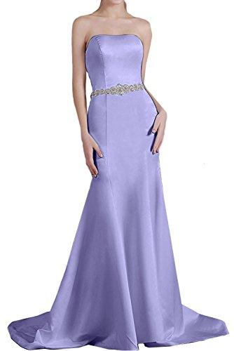 Guertel Strass Partykleid Traegerlos Meerjungfrau einfach Ruekenfrei Brautfernkleid Abendkleid Lilac Satin Schleppe Perlen aermellos Damen Ivydressing x8Tq00