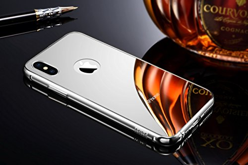 iPhone X Case for Men, Miniko(TM) Luxury Air Aluminum Metal Bumper Detachable + Mirror Hard Back Case [2 in 1 Cover ][Ultra Thin] Frame with Stylish Design for iPhone X Silver