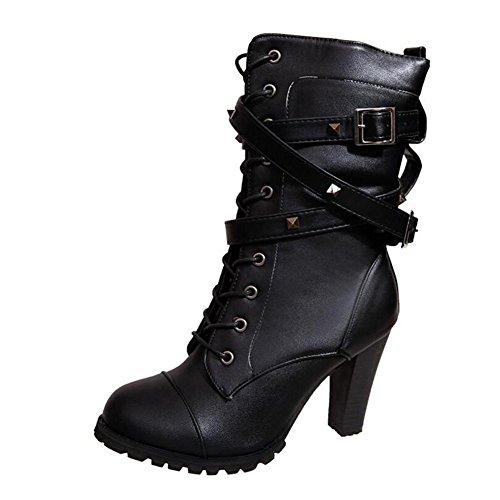 Rebita Cremallera Mujer Tamaño El Tacón Alto Zapatos yc Hebilla De En Lado Tubo Gran Del L Botas Black Cinturón Para wqZvnwUt