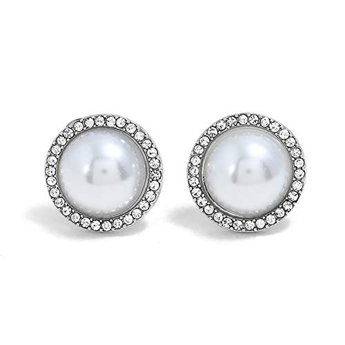 wintefei Lovely Girl Daily Makeup Women Fashion Faux Pearl Rhinestone Stud Earrings Jewelry Party Cocktail Gift Silver