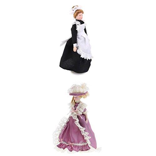 (MagiDeal 1/12 Dollhouse Mini Porcelain Dolls Victorian Hostess And Servant Figurine)