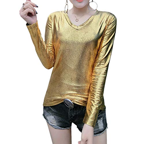 Vimoisa Women Shiny Metallic V-Neck Tank Top Shirt Long-Sleeve Performance T-Shirt(Gold 2XL) (Sleeve Tank V-neck Top Long)