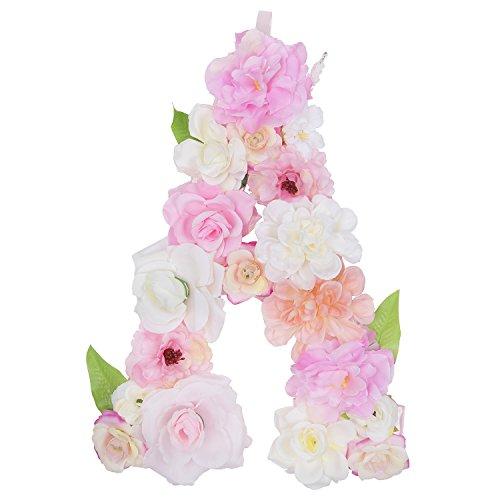 DARONGFENG Artificial Floral Letter for Room Door Wall Decoration (A)