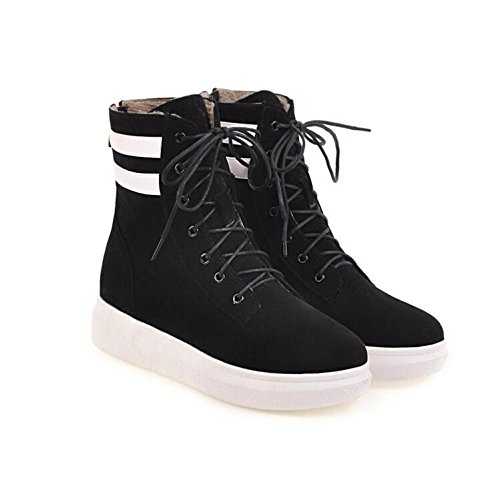 KHSKX Boots New Boots Female Trend Of High With Leather Frosted Boots Black Martin Straps Korean Female Bottom Thick Cross w6dwqrxR