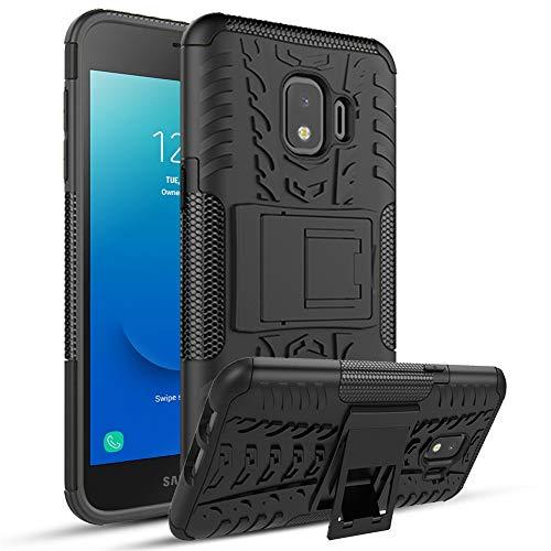 Samsung Galaxy J2 Case,J2 Core/J2 Dash/J2 Pure/SM-J260/J2 Shine Case with HD Screen Protector,[Built-in Kickstand] Heavy Duty Dual Layer Shockproof Non-Slip Reinforced Corners Phone Case (Black)