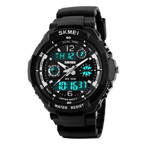 Kids Watch Sport Waterproof Multi Function Analog Quartz LED Alarm Stopwatch Digital Child Electronic Wristwatch for Boy Girl Silver Gray