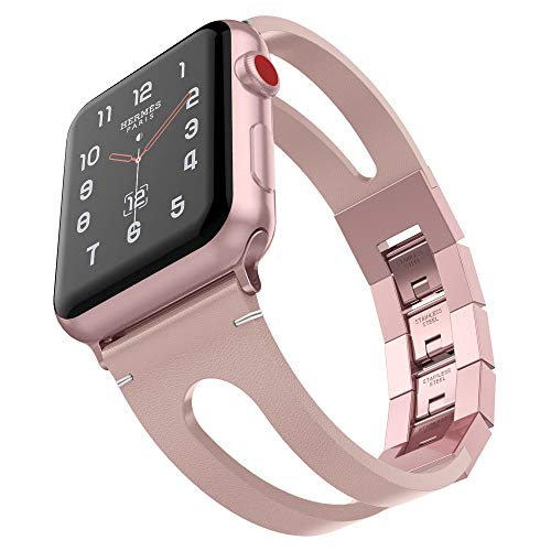 - UMTELE Compatible with Apple Watch Band 40mm 38mm, Vintage Top Leather Bands with Stainless Steel Folding Clasp Replacement for Apple Watch 4(40mm) 3/2/1(38mm)