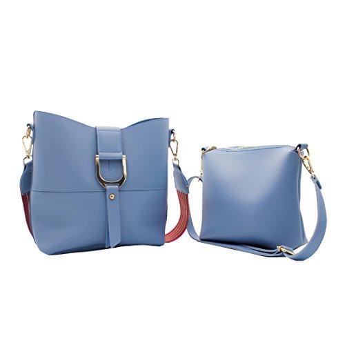 Womens 2 Piece Tote Bag Leather Handbag Crossbody Bags Set (Blue) - 6