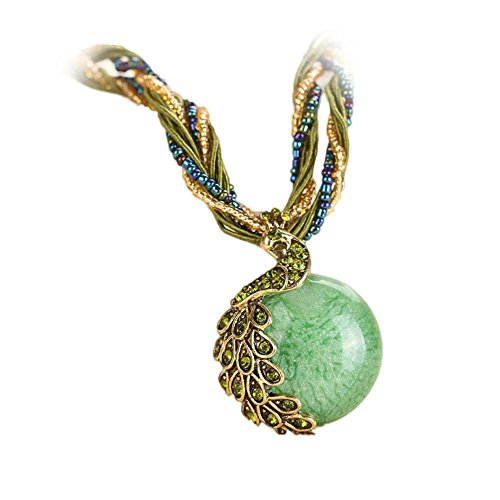 (Bohemian Peacock Gem Pendant Healing Chakra Birthstone Necklace Tribal Dangle Collar Statement Jewelry for Womens (Green, Alloy))