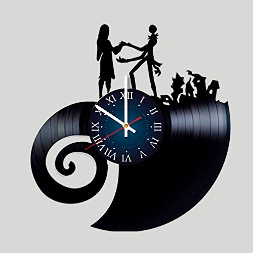 Nightmare Before Christmas Vinyl Record Wall Clock - Kids Room wall decor - Gift ideas for children, baby, brother and sister , him and -