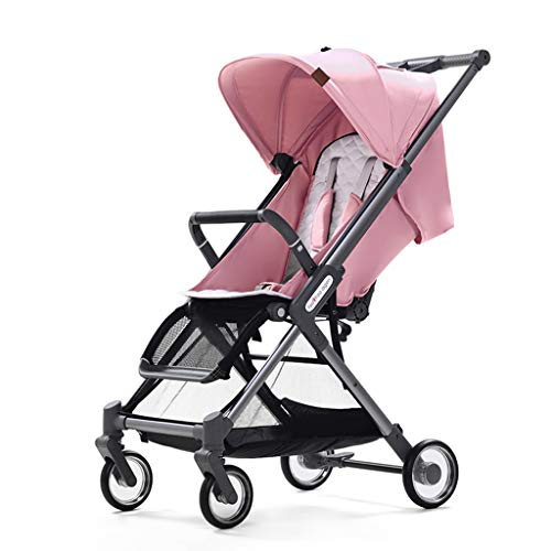 - ☝YEC Folding Stroller, Three-in-one Portable Cradle Light Weight 6.8 Kg Rainproof Cart Pushchair (Color : Pink(Single Velvet))