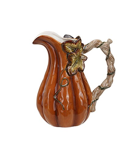 Harvest Pumpkin Tall 7.25 Inch Glazed Dolomite Tabletop Water Pitcher