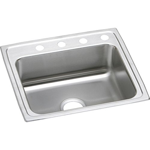 Elkay Lustertone LRAD2521653 Single Bowl Top Mount Stainless Steel ADA Kitchen Sink (Elkay Lustertone Bar Sinks)