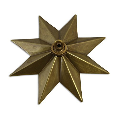 RCH Hardware CN-11-AB Solid Brass Decorative Star Shaped Ceiling Canopy Medallion Accent for Chandeliers and Pendant Lighting with Matching Screw Collar and Loop, Antique Brass by RCH Hardware