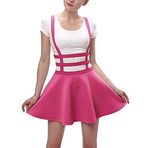 VEZAD Womens Pleated Short Braces Skirt Fashion Casual Skirt