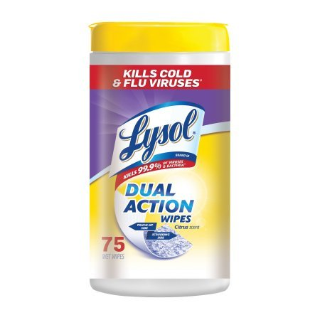 Lysol Dual Action Disinfecting Wipes w. Scrubbing Texture, 150ct (2X75ct) (2 pack(150 Count))