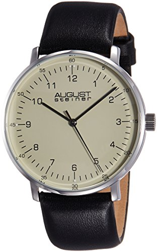 August Steiner Men's AS8090SS Stainless Steel Watch with Black Leather Strap